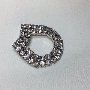 Vintage Silver Rhinestone Lucky Horseshoe Brooch